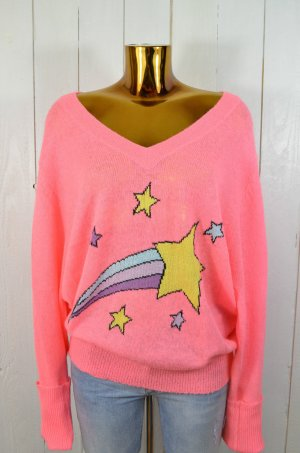 WILDFOX Damen Pullover Strick SHOOTING STAR Sterne Pink Neon Bunt Gr.M