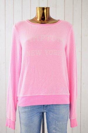 WILDFOX Damen Sweatshirt Neon-Pink Vintage-Look Print Rundhals Langarm Gr.S