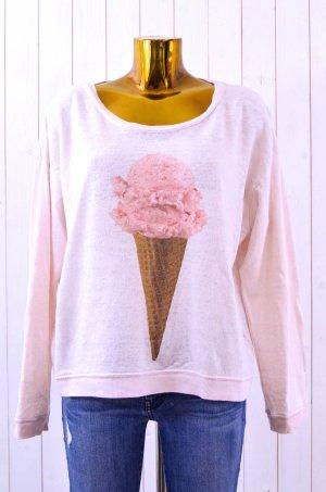 WILDFOX Damen Sweatshirt Print Ice Cream Rosa Eis Baumwolle Polyester Gr.S