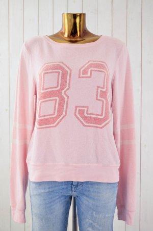 WILDFOX Damen Sweatshirt Rosa Vintage-Look Print Rundhals Langarm Gr.S