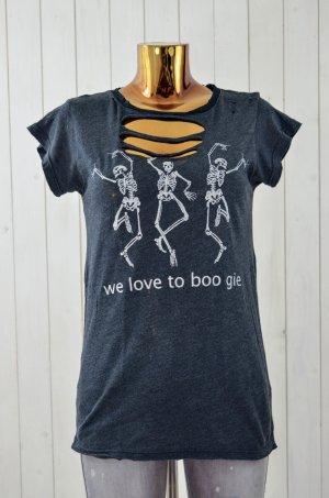 WILDFOX Damen T-Shirt Grau Schwarz Weiß Vintage Look Skelett Rundhals Gr.S