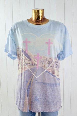 WILDFOX Damen T-Shirt Mod.Pioneer Town Hellblau Pink Lila Braun Foto-Print Gr.XS