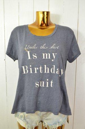 WILDFOX Damen T-Shirt Oberteil Grau Ecru Schrift Print Baumwolle Polyester Gr.S