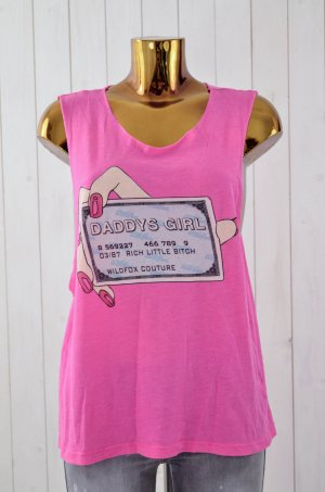 WILDFOX Damen Top Mod. Daddys Girl Pink Print Baumwolle Polyester Gr.S