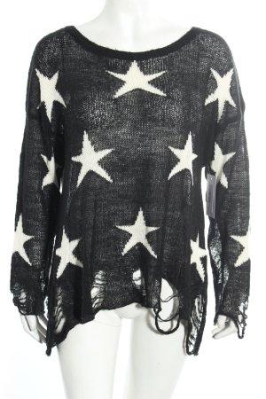 Wildfox Grobstrickpullover schwarz-wollweiß Sternenmuster Street-Fashion-Look
