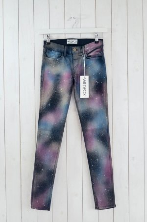 WILDFOX Jeans Skinny Mod.Marianne col.Heaven Schwarz Lila Grün Weiß Gr.28