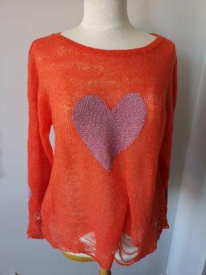 Wildfox Jersey holgados naranja-rojo frambuesa
