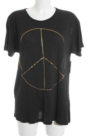 Wildfox Print-Shirt schwarz-goldfarben grafisches Muster Hippie-Look
