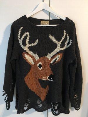 Wildfox Pullover Elch Grau