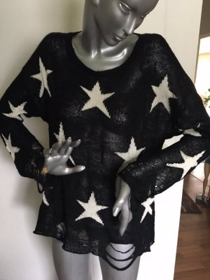 Wildfox Pullover schwarz mit weißen Sternen Gr. S