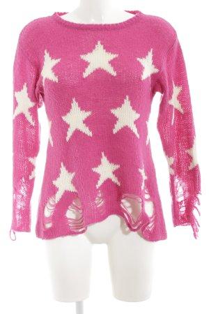 Wildfox Rundhalspullover pink-weiß grafisches Muster Casual-Look