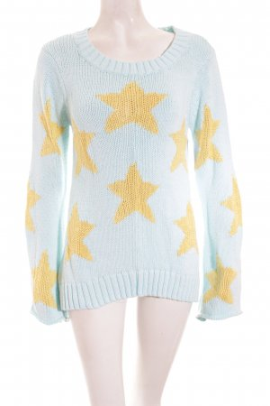 Wildfox Strickpullover babyblau-gelb Sternenmuster Casual-Look