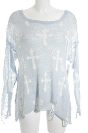 Wildfox Maglione lavorato a maglia celeste-bianco stile da moda di strada