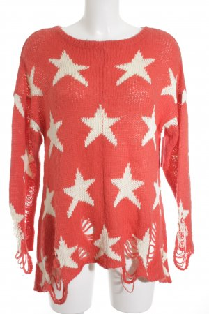 Wildfox Strickpullover hellrot-weiß Sternenmuster Street-Fashion-Look