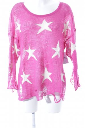 Wildfox Strickpullover pink-wollweiß Sternenmuster Casual-Look