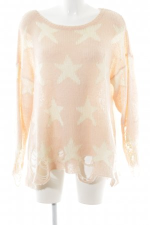 Wildfox Strickpullover rosé-hellbeige Sternenmuster Casual-Look