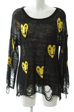 Wildfox Strickpullover schwarz-gelb Herzmuster Casual-Look