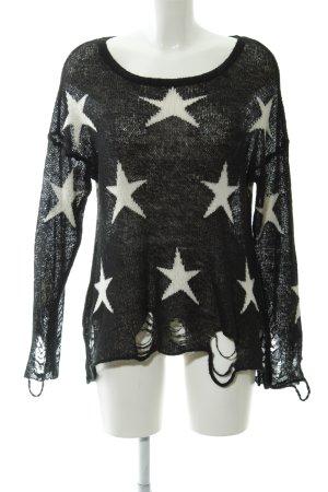 Wildfox Strickpullover schwarz-weiß Sternenmuster Casual-Look