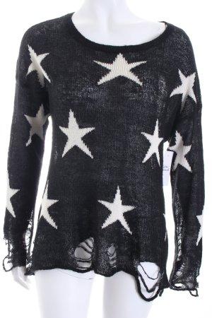 Wildfox Strickpullover schwarz-weiß Sternenmuster Destroy-Optik