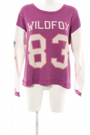 Wildfox Sweat Shirt pink-white flower pattern athletic style