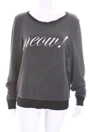 Wildfox Sweatshirt dunkelgrau Schriftzug gedruckt Used-Optik