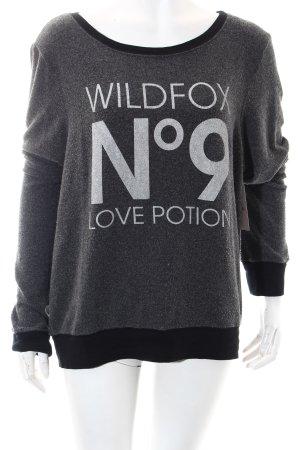 Wildfox Sweatshirt grau-schwarz Schriftzug gedruckt Casual-Look