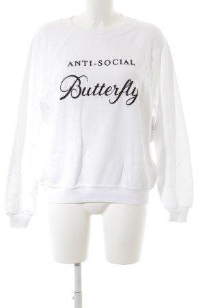 Wildfox Sweatshirt weiß-schwarz Schriftzug gestickt Casual-Look
