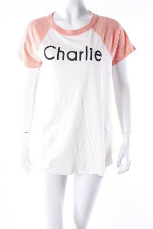 "Wildfox T-Shirt ""Charlie"" schwarz-lachs Gr. 36"