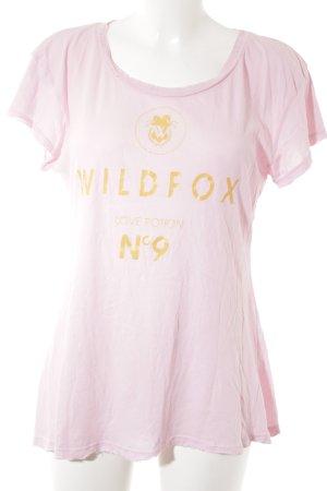 Wildfox T-Shirt goldorange-rosa Schriftzug gedruckt Casual-Look