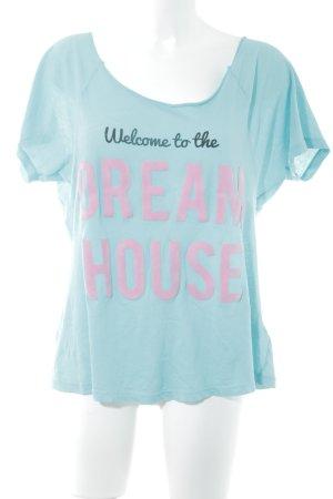 Wildfox T-Shirt türkis-rosa Schriftzug gedruckt Casual-Look