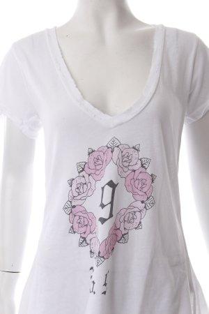 Wildfox T-Shirt weiß-rosa Blumenmuster Destroy-Optik