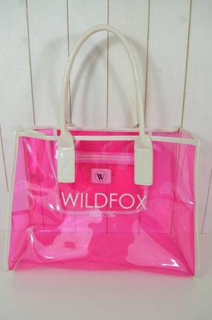 WILDFOX Tasche Strandtasche Bag Shopper Mod BEL AIR Pink Weiß Transparent Henkel