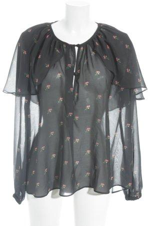 Wildfox Transparenz-Bluse schwarz Blumenmuster extravaganter Stil