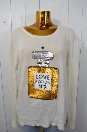 WILDFOX White Label Damen Pullover LOVE POTION Weiß Pailletten Flakon Gr. M