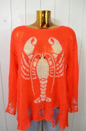 WILDFOX White Label Damen Pullover Strick Orangerot Weiß Hummer Grobmaschig XS
