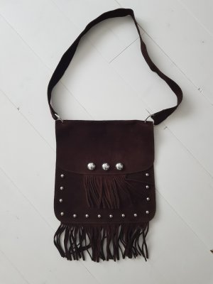 Fringed Bag silver-colored-dark brown