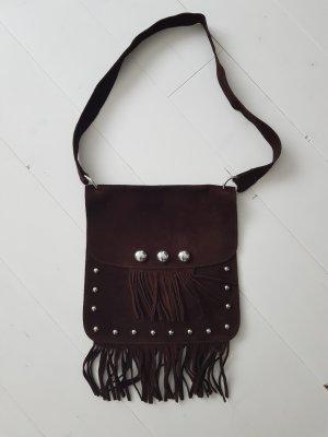 Bolso de flecos color plata-marrón oscuro