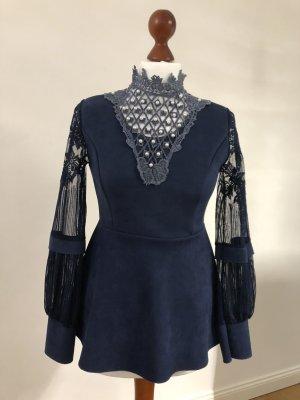 Blusa in lino blu scuro
