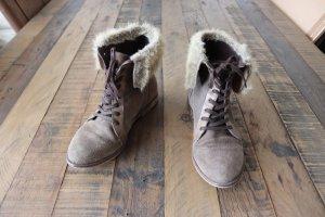 Wildleder Boots Stiefel Festival Boho Vintage Coachella Gr. 37 braun Kunstfell