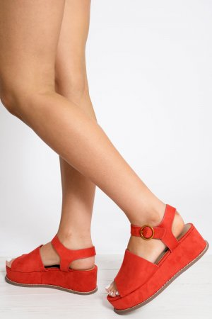 High-Heeled Sandals red suede