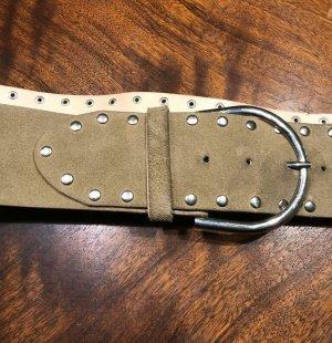Leather Belt oatmeal-light grey suede