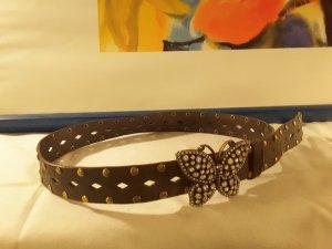 Wildleder Gürtel mit Schmetterlingsschnalle, Länge 110 cm, Breite 3,5 cm