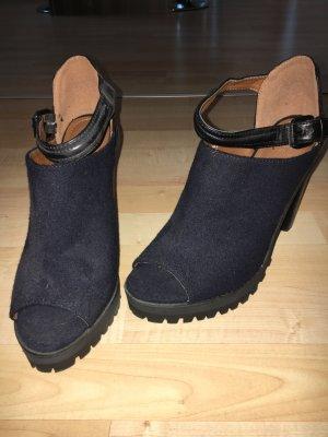Wildleder high Heel in dunkelblau/schwarz