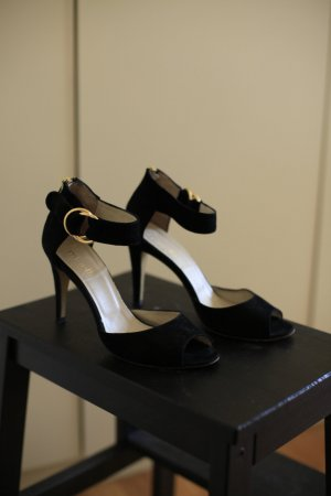 minelli High Heel Sandal black-gold-colored suede
