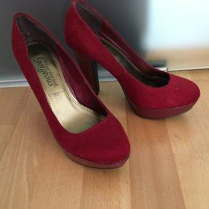 Wildleder high Heels Schuhe Pumps Gr 36 New Look rot