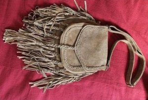 Fringed Bag brown-gold-colored leather