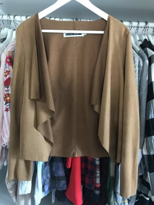 Noisy May Blazer in pelle marrone-cognac