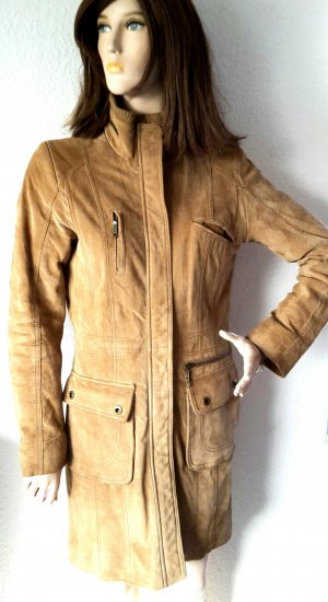 Leather Coat brown-cognac-coloured suede