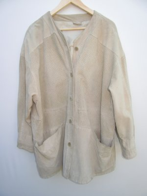 Wildleder Jacke Vintage Retro beige grau Gr. 52