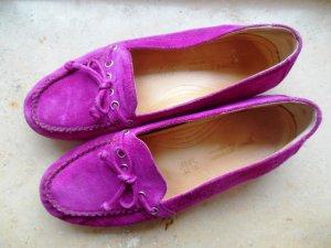 Wildleder Loafers in Magenta Herausnehmbare Leder-Innensohle Luxus Grösse 4,5